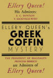 The Greek Coffin Mystery - Dustcover Victor Gollancz Ltd ,1932