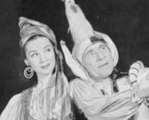 "Kathleen Roche and Florenz Ames in Gilbert & Sullivan's ""Yeoman of the Gard"" (1944)."