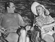 "Ralph with Ginger Rogers on the set of ""Carefree"" (1938)"