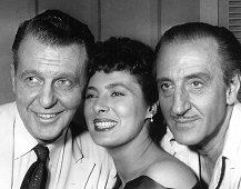 "Ralph Bellamy, Rita Gam & Basil Rathbone ""Affair In Sumatra"" from the series ""Screen Directors Playhouse"" (22 Feb. 1956, ABC-TV)."