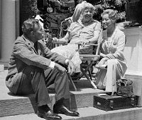 "Ralph Bellamy, Eleanor Roosevelt, and Greer Garson (filming ""Sunrise at Campobello""), Hyde Park, 1960."