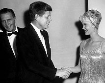 Ralph just sneaks in with President Kennedy & Dorothy Provine at W.H. Correspondents Dinner Sheraton Park Hotel, Washington, D.C. on February 25, 1961.