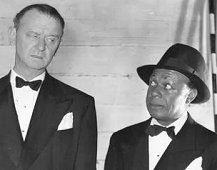 "James Burke with Eddie ""Rochester"" Anderson in an unknown scene (Probably from 1945's ""I Love a Bandleader"")"