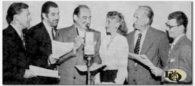 "Ziehier de Mr.President cast voor de ABC uitzending van de show op 14 aug1949 welke ook werd opgevoerd door de gehospitaliseerde veteranen in Sawtelle. Van links naar rechts, Ted Osborne, Ted De Corsia (!), Edward ""Mr. President"" Arnold, Bea Benaderet, Herb Butterfield en Irvin Lee."