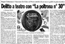 Italian newspaper article announcing the play The Roman Hat Mystery (La poltrona nr 30 or 'seat Nr 30') with some 'lended' art from this website...