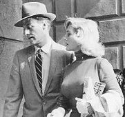 "Richard Coogan with Mamie Van Doren in ""Vice Raid"" (1960)."
