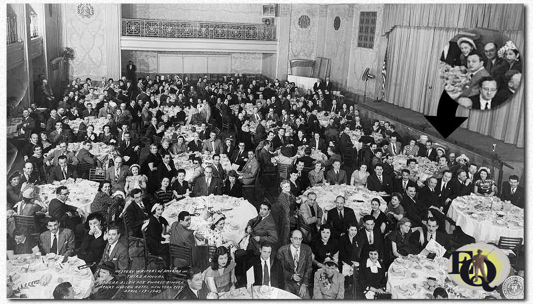 Mystery Writers of America Inc. Third Annual Edgar Allen Poe Awards dinner. Henry Hudson Hotel New York City April 19. 1949. Lots of famous writers. You can find Fred and Hilda at the same table (see circle, Hilda top left, Fred top middle) whilst we believe Manfred was seated at the table next to the Dannays (bottom of the circle). Click on the picture for a larger version.