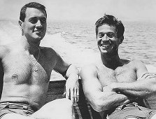 George Nader with pal Rock Hudson on Lake Arrowhead (50s)