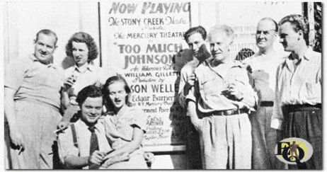 Howard Smith, Mary Wickes, Orson Welles, Virginia Nicolson, William Herz, Erskine Sanford, Eustace Wyatt and Joseph Cotten outside the Stony Creek Theatre during the two-week run of the Mercury Theatre stage production of Too Much Johnson (August 16–29, 1938)