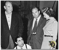 "1946 rehearsal for ""Mr. Peebles and the Mr. Hooker"" standing next to Howard Smith (L), Rhys Williams and Randee Sanford (R)"