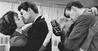 "Woman kissing Joby Baker while Susan Oliver and Jim Hutton do the same in ""Looking For Love""  (1964)."