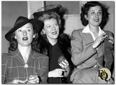 CBS Radio actresses left to right, Kaye Brinker (plays Sheila Brand), Ethel Owen (portrays Dr. Molly Hedgerow) and Ann Shepherd (portrays Joyce Jordan, MD), knitting for the war effort. New York, NY. December 18, 1941.