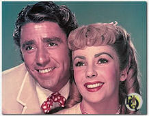 "1949 Peter Lawford and Elizabeth Taylor in a publicity shot for ""Little Women"""