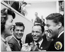 Patricia Kennedy, Tony Curtis, Frank Sinatra and Peter Lawford share a laugh at the Democratic Convention in 1960