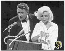 "Peter Lawford introducing Marilyn Monroe at Kennedy's Democratic Convention when she sang ""Happy Birthday Mister President."" (1962)"