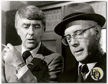 "Lawford with Inspector Queen played by Harry Morgan in ""Ellery Queen, Don't Look behind You"""