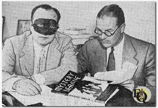 Ellery Queen (still in full Barnaby Ross/Ellery Queen mode) with publisher Sidney M. Biddell (R) whilst signing the first copy of the magazine (Oct 1933)