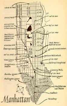 Map van Manhattan uit 'Cat of Many Tails' (Paniek in Manhattan)