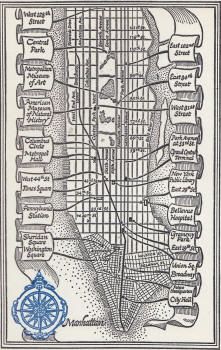 Map of Manhattan as found in Cat of Many Tails