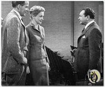 "Hugh Marlowe, Nina Foch, Edward G. Robinson in ""Illegal"" (1955) where Marlowe plays a young, ambitious lawyer."
