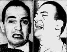 "Left agonized Santos Ortega, right hilarious Mr. Ortega. Pictures illustrating the versatility of perfomers in soap opera. Santos appeared then as John Lane, the sobbing, broken-hearted husband in ""Beyond These Valleys"" (CBS, 1940)"