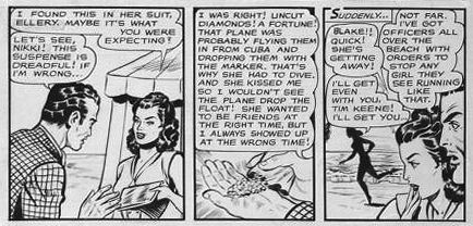 "Original panel for the Our Secret story ""Kiss and Tell"" (1950). In the first panel you can see the original usage of the names ""Ellery"" and ""Nikki"". In the last panel some cut and paste work 'old style' to change ""Ellery"" into ""Blake"""