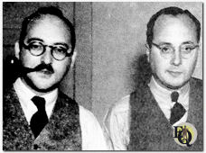 Ellery Queen, author turns out to be couple of other fellows. Frederic Dannay (left) and Manfred Lee - Hollywood discovered they were Ellery Queen (Jan 1937).