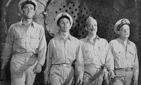 "David Wayne as Frank Thurlowe Pulver, the precocious ensign in ""Mr. Roberts"" in 1948 (second from the left)"