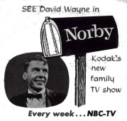 "Station advertisement for the TV series ""Norby"" (1955) with David Wayne"