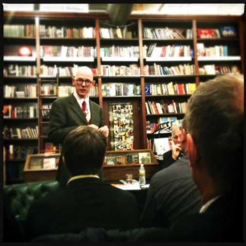 The reading / signing at The Mysterious Bookshop on Feb. 27th 2012 was a blast--a very nice turnout, and books were sold! I'm grateful to all who attended. Here's a shot of the editor of Blood Relations answering---at great length, no doubt---a question from the very smart audience.