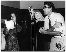 "Gregory Peck at microphone with Kaye Brinker in radio's Hitch-Hike Poker"" (1948)"