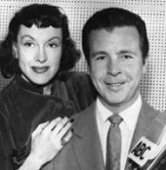 Dick Powell and Virgina Gregg during the ABC run of Richard Diamond from KECA Studio X in Hollywood