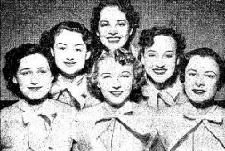 "Virginia (Second row, right) joined up with 5 other young female musicians.They called themselves ""The Singing Strings"""