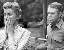 "Steve McQueen as Josh Randall plead with Amanda Summers (Virginia Gregg) to permit him to take her critically ill son to a surgeon, over the objections of the lad's father in ""Wanted Dead or Alive"" (Sep 12. 1959) CBS"