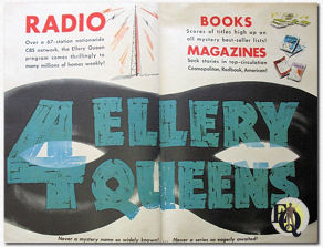 The initial Columbia series featured 4 movies. But equally right the 4th Ellery Queen was the movie Ellery Queen, promoted in this Columbia add by refering to the other three Ellery Queens (television hadn't reached the masses in these early 40s).