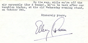 Fragment form a letter dated 16. September 1946 announcing the return of the Ellery Queen radio adventures...