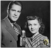 Hugh Marlowe and Marion Shockley appear before a CBS microphone to promote the Adventures of Ellery Queen