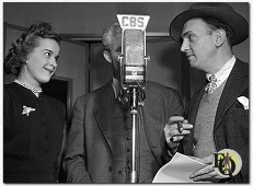 Gertrude Warner, (a hidden) Ellery Queen and Santos Ortega in the studio (11-1945)