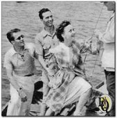 Nikki and Ellery are as attractive in real life as they are on the air. Leaving the skiff for Mark Warnow's yawl are, left to right, Ellery Queen, radio's supersleuth, in real life, Hugh Marlowe; George Zachary, producer and director; Nikki Porter (Marion Shockley); Warnow is on deck. - ED (Picture by Walter Seigal) (from Radio Guide 40-01-05)