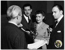 Sydney Smith, Ted De Corsia, Marion Shockley and Santos Ortega in radio's Ellery Queen