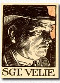 "Sergeant Velie as depicted by Frank Godwin for a ""Redbook"" edition of ""The Chinese Murder Mystery""."