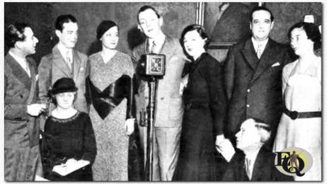 "Cast of ""Moonshine and Honeysuckle"" Stanford, Ben Lackland (David), Theresa Whittler (Gypsy). Louis Mason (Clara), Ann Elstner (Cracker) Bradley Barker (Len Boyd and ""Bones"") and Sara Haden (Piney). Seated: Lulu Vollmer and Robert Strauss (1933)."