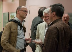 (From L to R) Kurt, Dale in conversation with Jeffrey Marks (Symposium reception, Sep 30. 2016)  (Picture from EQMM blog)
