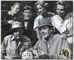"""The Adventure of the Chinese Dog"", an ""Ellery Queen"" episode. Left to right are Murray Hamilton, Orson Bean, Katherine Crawford and Geraldine Fitzgerald."