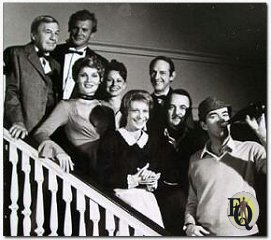 Pictured are David Wayne, Tab Hunter, Susan Stafford, Rosanna Huffman, William Schallert, Signe Hasso, John Hillerman and Jim Hutton during the episode The Adventure Of The Black Falcon