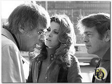 (L to R) Peter Lawford, Stephanie Powers and director Barry Shear