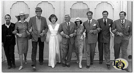 "Stars and guest stars step into the 1940s, time setting for the who-done-it mysteries ""Ellery Queen"". They are (from left) John Hillerman, Anne Francis, series Star Jim Hutton, Ida Lupino, series star David Wayne, Susan Strasberg, Don Ameche, Craig Stevens and Jack Kelly. All appear in the episode ""The Lover's Leap"" (NBC-photo)."