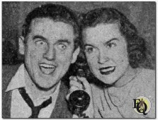 "The exciting adventures of a couple of ace reporters on a Metropolitan daily form the basis of the new, fast-moving drama series ""City Desk"", heard Thursday nights over Columbia network. Chester Stratton and Gertrude Warner, who portray the star reporting team are shown here on the receiving end of a hot tip of a big news story. (Hot Tip on a Big story, Mt.Pulaski Times)"