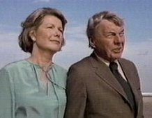 "Miss Ellie (Barbara Bel Geddes) and Digger Barnes (David Wayne) at a Southfork BQQ in "" Dallas"" (1978)"