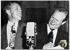 "Bill Zuckert and Richard Widmark before the mike for an episode of ""Cavalcade of America"" (1948)"